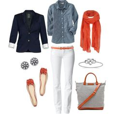 White jeans, chambray shirt, red scarf...love it, so fresh and crisp