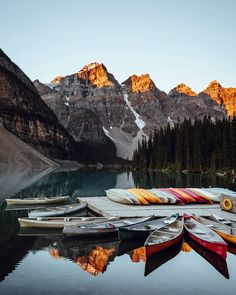 Sometimes you need to experience a place in person to believe it exists - this is one of them! Sunrise at Moraine Lake. by daniel_ernst