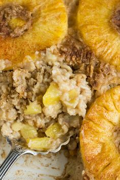 Tropical Pineapple Boozy Baked Oatmeal via oh she glows