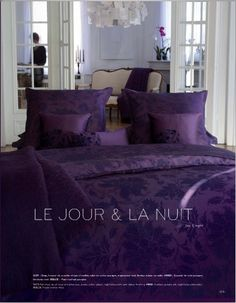 Alexandre Turpault:  SATI:  Flat sheet, duvet cover and pillowcase, purple cotton sateen, night blue print, satin ribbon finishing.  HINDI:  Cushion, purple silk, night blue embroidery.  DOLCE:  Purple mohair throw.