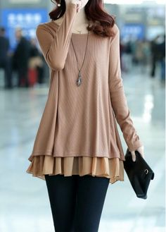 Khaki Long Sleeve Bowknot Decorated Patchwork Sweater