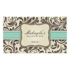 Elegant Floral Damask Modern Brown, Green & Beige Pack Of Standard Business Cards