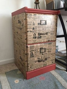 file cabinet upcycle with wrapping paper chalk paint decoupage painted furniture - Filing Cabinets - Ideas of Filing Cabinets Old Furniture, Repurposed Furniture, Furniture Makeover, Painted Furniture, Furniture Refinishing, Desk Makeover, Garage Makeover, Furniture Repair, Furniture Market
