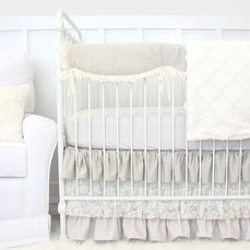 Jacquelyn's linen and lace ruffle bumperless crib bedding in neutral colors