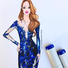 Copic Marker fashion illustration by Houston fashion illustrator Rongrong DeVoe. More fashion illustrations at www.rongrongdevoe.com