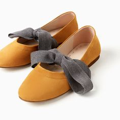 LEATHER BALLET FLATS WITH BOW-NEW IN-GIRL | 4 - 14 years-KIDS | ZARA Hungary