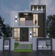Stunning Charming Minimalist House Plan Ideas That You Can Make Inspiration. Duplex House Plans, Bungalow House Design, House Front Design, Small House Design, Modern House Plans, Modern Exterior House Designs, Modern Architecture House, Modern House Design, Architectural House Plans