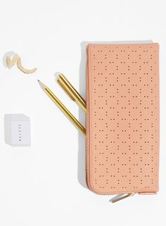 Get your desk space organised with this gorgeous Peach Perforated Leather Pencil Case