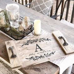 Do It Yourself Houseboat Strategies - Building Your Own Houseboat Olive Branch Monogram Plank Wood Tray Pallet Crafts, Diy Wood Projects, Wood Crafts, Woodworking Projects, Diy Crafts, Vinyl Projects, Diy Wood Signs, Pallet Signs, Diy Workshop