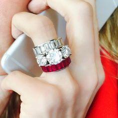 Beautiful rubies and diamonds! #diamond #ruby #baguettestones