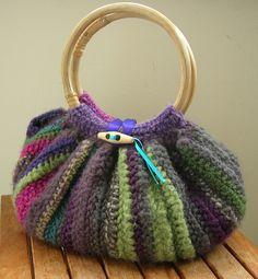 Stripey crochet bag