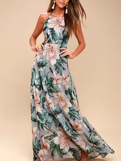 Grey Lace Up Back Floral Printed Maxi Dress