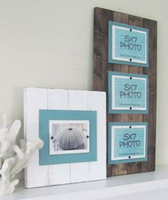 Triple Long Dark Walnut Stained and Turquoise Plank Frame for 5x7 Pictures. 99.00, via Etsy.