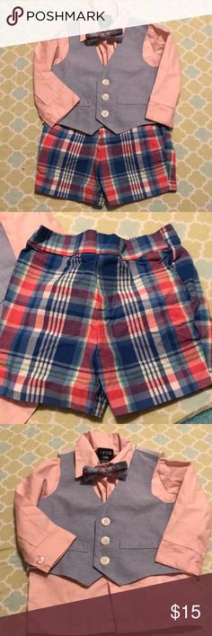 🦀⚓️Izod NEW Four Piece Nuatical Outfit Great summer formal outfit! Pale pink button down, plaid shorts, chambray vest, and chambray crab Velcro bow tie! NEW NEVER WORN!   🎉🎉Bundle any four baby/maternity items and the fourth item is FREE!! 10% off bundle discount also applies! All offers are welcome!🎉🎉 Izod Matching Sets