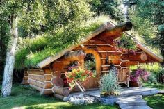 TINY HOUSE | Living Roof on this tiny house is exceptionally beautiful. Mom Cave - Quite possibly the coolest thing ever. | relaxshacks.blogspot.com via Shelly Gerk
