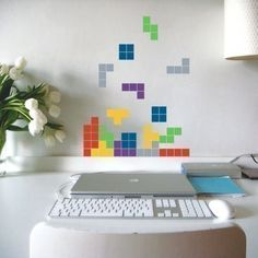 Distract yourself from work, old school style, with this falling blocks wall decal for your office by vinylwalldesign.
