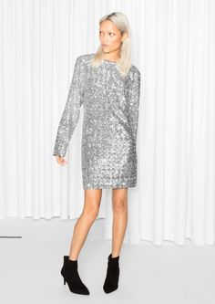 & Other Stories Sequin Dress  in Dark Grey