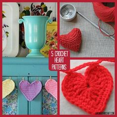 5 Crochet Heart Patterns to Love...they're so cute and easy!
