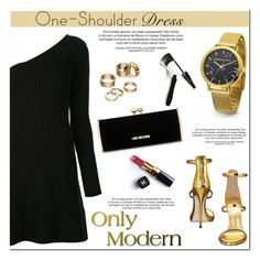"""Party Style: One-Shoulder Dress"" by christianpaul ❤ liked on Polyvore featuring Jonathan Simkhai, Giuseppe Zanotti, Love Moschino, Apt. 9, Chanel, Lancôme, partydress, contestentry, OneShoulderDress and partystyle"