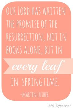 Our Lord has written the promise of the resurrection, not in books alone, but in every leaf in springtime. --Martin Luther