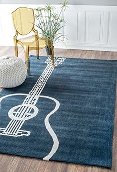 nuLOOM Handmade Guitar Blue Rug x (Synthetic Fiber), Size x (Polyester, Graphic) Musica Love, Plush Area Rugs, Guitar Room, Home Studio Music, Modern Area Rugs, Rugs Usa, Carpet Design, Vintage Rugs, Vintage Modern