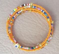 Orange Memory Wire Stainless Steel Bracelet by KalaaStudio on Etsy