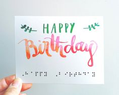 Braille Birthday Watercolor Greeting Card By InclusiveGreetings Coral Colour Things To Buy Gifts For