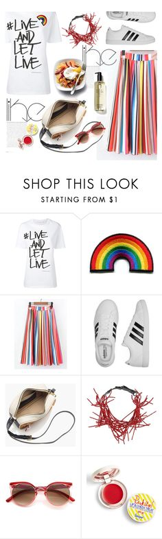 """""""just live"""" by nataskaz ❤ liked on Polyvore featuring Neil Barrett, adidas, J.Crew, Brunello Cucinelli, Supergoop!, Bobbi Brown Cosmetics and pride"""