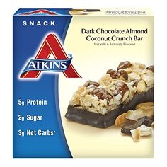 Atkins Snack Bar Dark Chocolate Almond Coconut Crunch 5 Bars ** Visit the image link more details. Note:It is affiliate link to Amazon.
