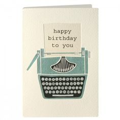 Birthday Typewriter Retro Press Card