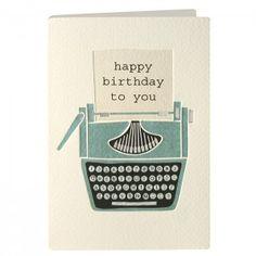 Birthday Typewriter Retro Press Card
