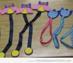 Manualidad en goa eva, marcapáginas con búhos Handicraft, Bookmarks, Washer Necklace, Books, Jelly Beans, Tutorials, Projects, Craft, Gift Crafts