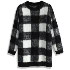 Chicwish Fuzzy Checks Sweater ($59) ❤ liked on Polyvore featuring tops, sweaters, black, black top, black sweater, fuzzy sweater, checkered sweater and checkered top