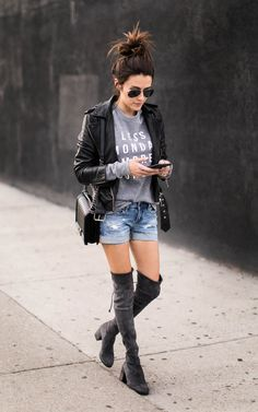 Leather Jacket and Shorts | Casual Fashion