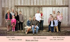 large groups ideas:   cute family picture... But groups should be moved closer together