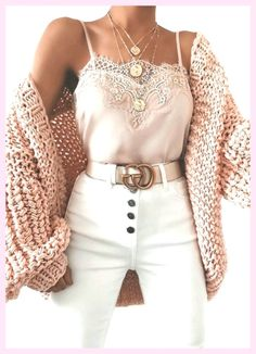 Bubble knit cardigan outfit idea for fall! Casual outfit with a cardigan, lace c. - Bubble knit cardigan outfit idea for fall! Casual outfit with a cardigan, lace cami, and white high - Winter Fashion Outfits, Cute Fashion, Look Fashion, Womens Fashion, Fashion Ideas, Fashion Belts, Fashion Trends, Fashion Spring, Fashion Clothes