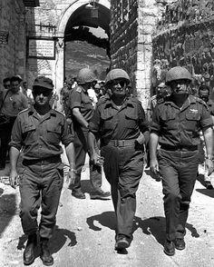 1967 First Day of Jerusalem's Liberation | Uzi Narkiss (L), Moshe Dayan (C), Yitzhak Rabin (R)