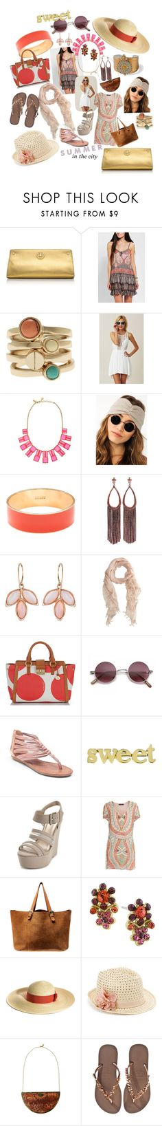 """""""sweet summer in the city, boho style"""" by sandra-longman ❤ liked on Polyvore featuring Tory Burch, Band of Gypsies, Armani Exchange, Bless'ed Are the Meek, Kate Spade, J.Crew, Adia Kibur, Irene Neuwirth, Mint Velvet and Brahmin"""