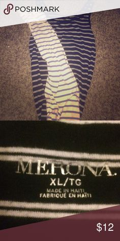 Two pack of striped tank tops Both XL. One blue and white the other black and white Merona Tops Tank Tops