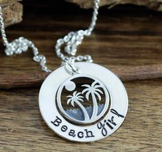 Beach Girl Necklace, Beach Jewelry, Palm Tree Jewelry, Beach Lover Gift, Gift for Her, Hand Stamped Jewelry, Vacation Jewelry by AnnieRehJewelry on Etsy Beach Jewelry, Unique Jewelry, Hand Stamped Jewelry, Girls Necklaces, Washer Necklace, Palm, Gifts For Her, Vacation, Trending Outfits