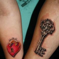A lock and key tattoo is also a great idea for a classy tattoo for couples. #inked #tattoo #couple #idea #lock #key #cute #date #ink