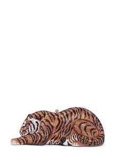 JUDITH LEIBER 'Shere Khan Tiger' crystal pavé minaudière. #judithleiber #bags #shoulder bags #leather #lining #metallic #crystal #