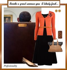 Michelle Obama's First Lady Style Whatever party you support, I hope we can agree that Michelle Obama has created a First Lady style that works for her. Her outfits project elegant-retro-lady. Whether she's in trousers, dresses, shorts or skirts and cardigan sweaters, Mrs. Obama appears confidence and comfortable. Here's her on-the-job style: Jewelry is minimal. She often wears significant piece: a big watch, a large brooch. Bare wrists are common. She knows her shape. Because Mrs. Obam