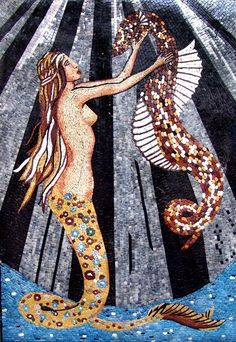 Mermaid and Sea Horse mosaic