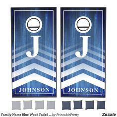 Family Name Blue Wood Faded Chevron Monogram Cornhole Set Custom Cornhole Boards, Cornhole Set, Cross Beam, Chevron Monogram, Blue Wood, Epic Games, School Colors, Board Games, Door Handles