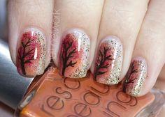 The Nail Network: Festive Autumn Tree/Foliage Nail Art