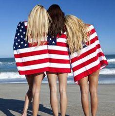 4th of July, Fourth of July, American Flag, Stars and Stripes, American, USA, American pride, American flag girls, girls on beach