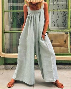 Womens Striped Jumpsuits V Neck Sleeveless Strap Wide Leg Playsuit with Pockets Summer Casual Loose Colorblock Rompers Holiday Baggy One-Piece Trouser Long Pants Overalls