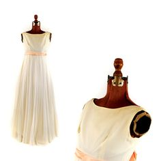 Vintage 1960's Empire Waist Winter White Sheer Chiffon Cocktail Party Long Prom Evening Dress M