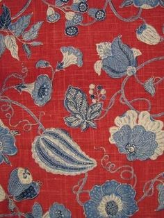 Cir Sulawesi Pomegranite: Linen Rayon up the roll jacobean floral from P. Blue Family Rooms, Blue Rooms, Dining Room Blue, Living Room Red, Chair Fabric, Fabric Decor, Textiles, Blue Fabric, Red White Blue